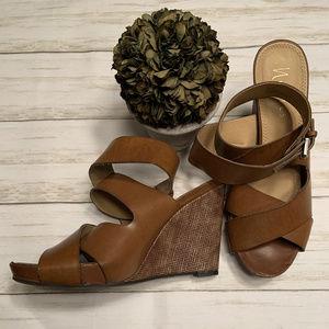 Nickels Wedges Ankle Wrap Brown Vegan Leather shoe